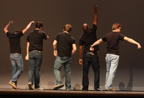 Mr. RHS participants begin the show with a dance.