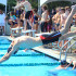 Jacob Gwin dive into the pool for the swim's second meet, Sept. 24