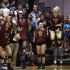 The bench reacts to winning a point in the Stony Point match.