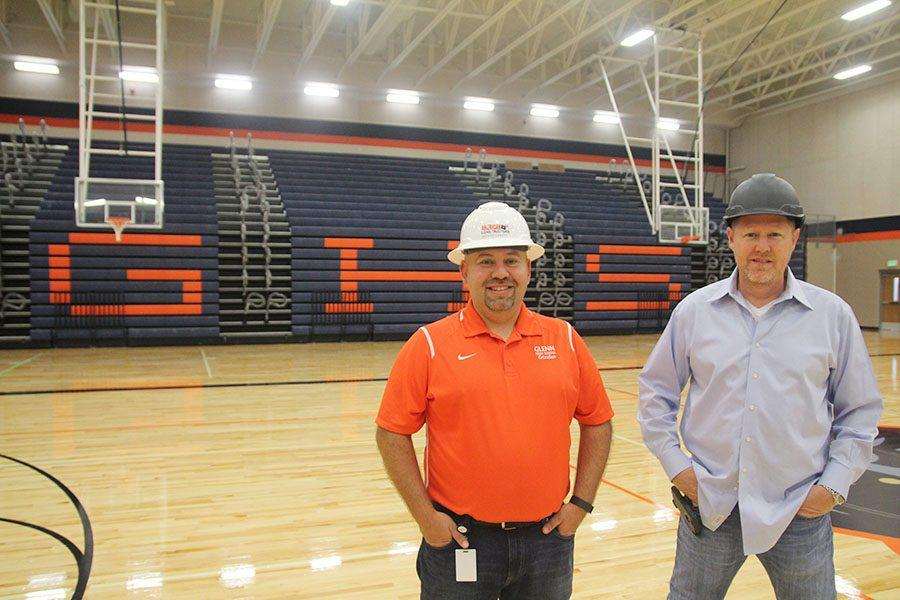 Principal Arturo Lomeli and head construction supervisor James Conkle in the Glenn gym.
