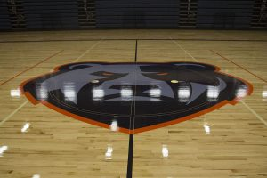 The Grizzy logo on the gym floor. Students voted through Google on the mascot, choosing between a Grizzly or Gladiator. Grizzly won 60 percent of the vote to become the latest mascot in LISD.