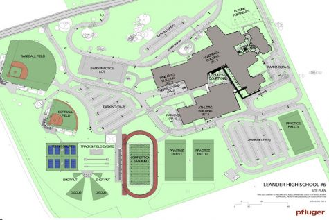The map of Glenn shows the main building, parking lots and athletic fields.