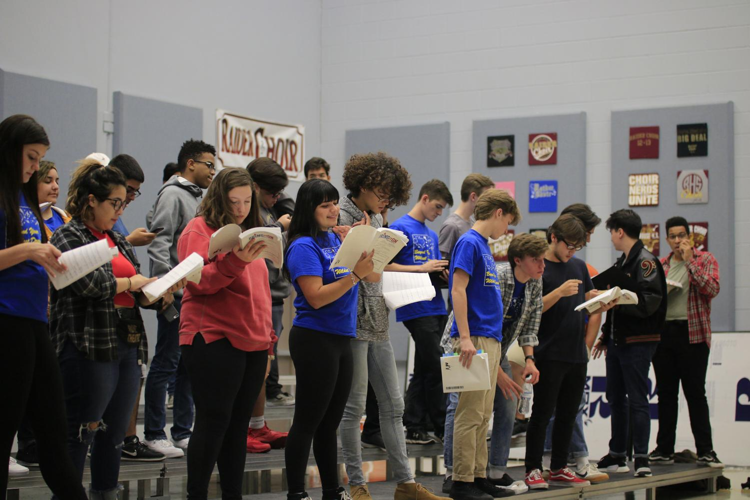 Leads and ensemble practice their music
