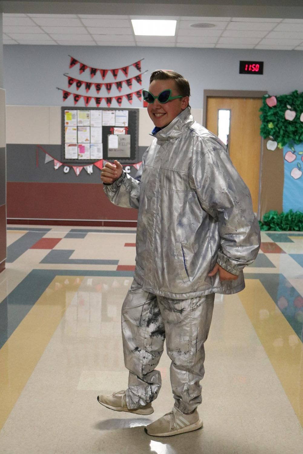 Senior Clay Keltch dresses up for space day during the football season.